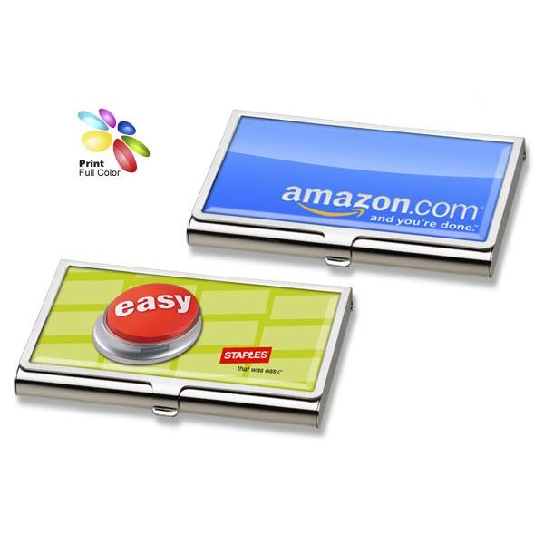 168 best cute promotional products for women images on pinterest customize your logo on this shiny silver business card holder with 4 color process imprint reheart Images