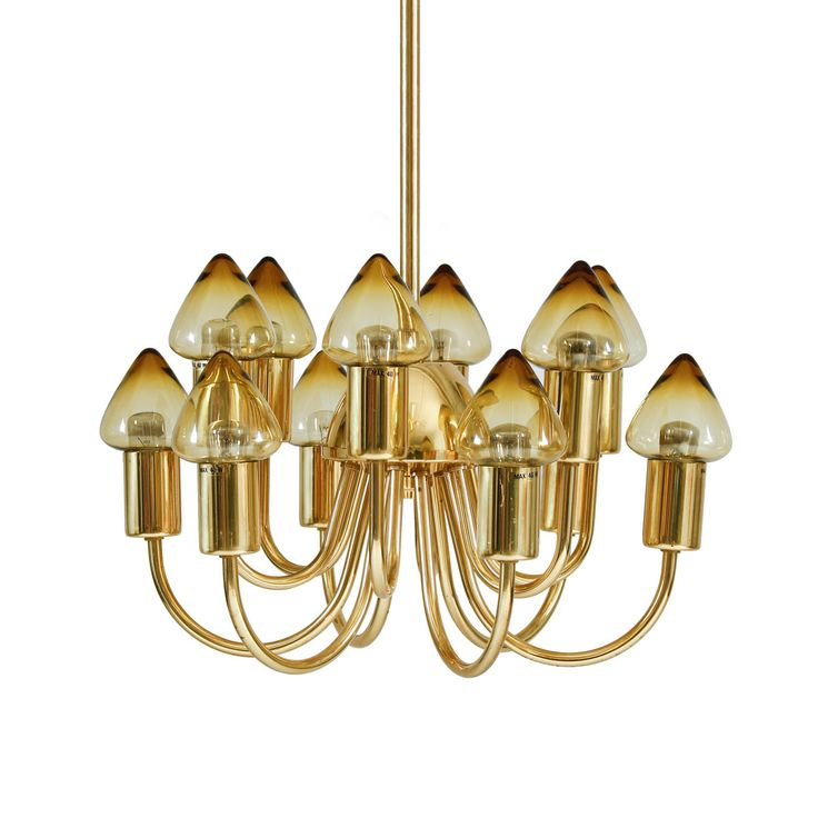 Hans-Agne Jakobsson chandelier in brass and pointed shades in smoked glass