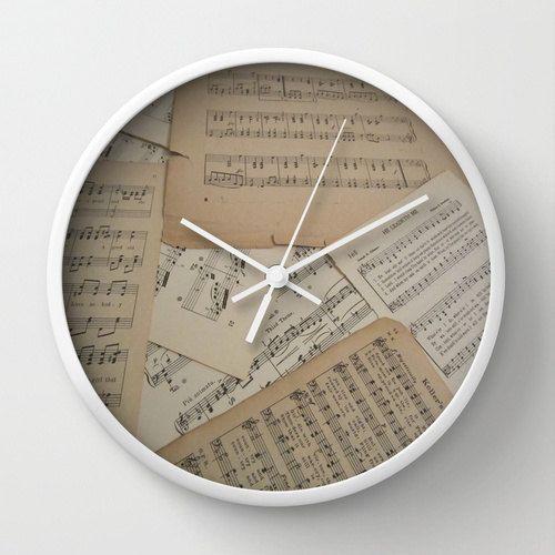 Vintage Music Wall Clock, music clock, sheet music clock. music home decor, music gift idea