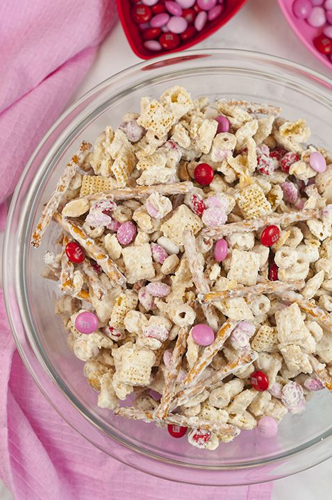 Cupid's Crunch Chex Mix recipe is a no-bake, sweet and salty Valentine's day treat loaded with festive M&M's that is easy to make and great for gifts!