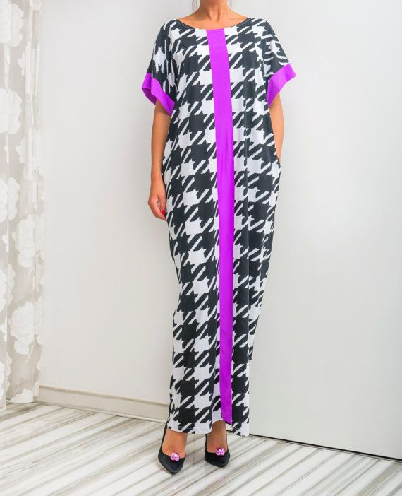 NEW SS16 Black and White Caftan Maxi Dress by cherryblossomsdress