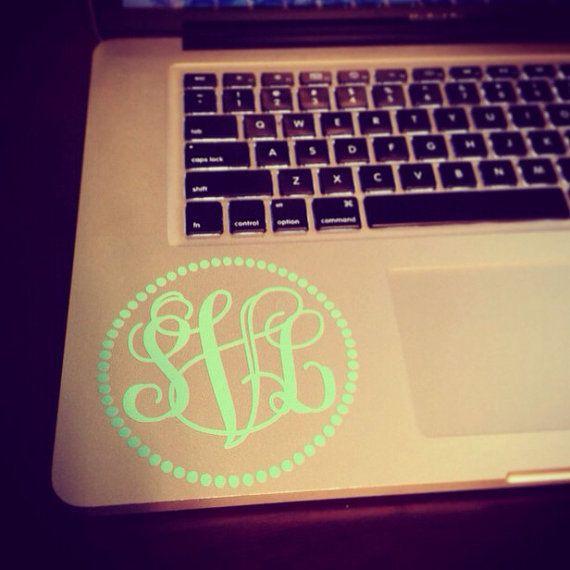 4 inch Monogram Laptop Decal Dot Frame in Vine by SunshineVinyl, $5.00