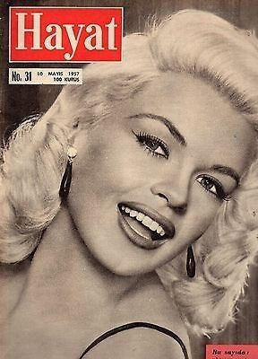 Jayne Mansfield on the cover of Hayat magazine, May 1957, Turkey.