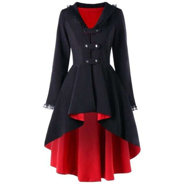 Back Lace Up High Low Gothic Coat ($30) ❤ liked on Polyvore featuring outerwear, coats, goth coat, red coat and gothic coat