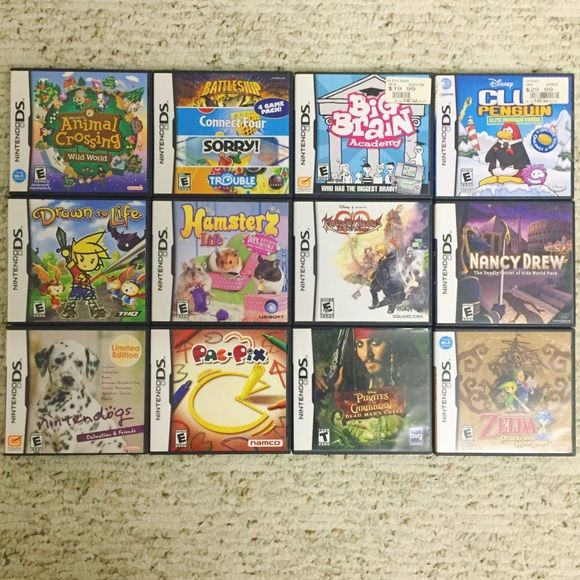 Nintendo DS Games Games for the Nintendo DS! Please let me know which ones you want so that I may create another listing. A LOT cheaper if bundled   $5- Club Penguin: Big Brain Academy, Elite Penguin Force, Hamsterz, Pac-Pix, Pirates of the Carribean: Dead Man's Chest  $10- 4 Game Pack, Drawn to Life, Nintendogs: Dalmatians & Friends  $15- Nancy Drew: The Deadly Secret of Olde World Park  $20- Kingdom Hearts: 358 / 2 days  $25- Animal Crossing: Wild World, Legend of Zelda: Phantom Hourglass…