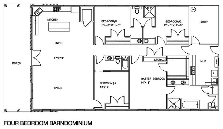 FAVORITE so far.  Combine bedroom 2 and shop rooms to make a bunk room.  Bedroom 3 becomes an office & overflow bedroom with french doors opening from living room.  Rework master bath so closet is inside bathroom.   Texas Building Center 4 bedroom floor plan