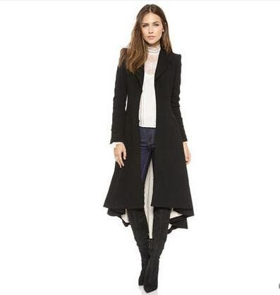 One Of A Kind Fashionable Victorian Extra Long Trench Coat w/Turn-down Collar, DovetailWom - Loluxe - 2