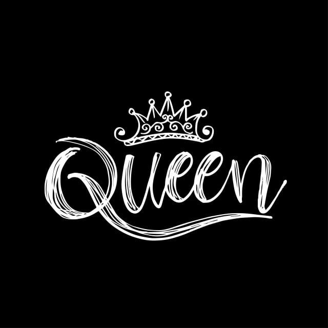 Queen Word With Crown Black And White Word Clipart Abstract Art Png And Vector With Transparent Background For Free Download Pink Queen Wallpaper Queen Wallpaper Crown Queens Wallpaper