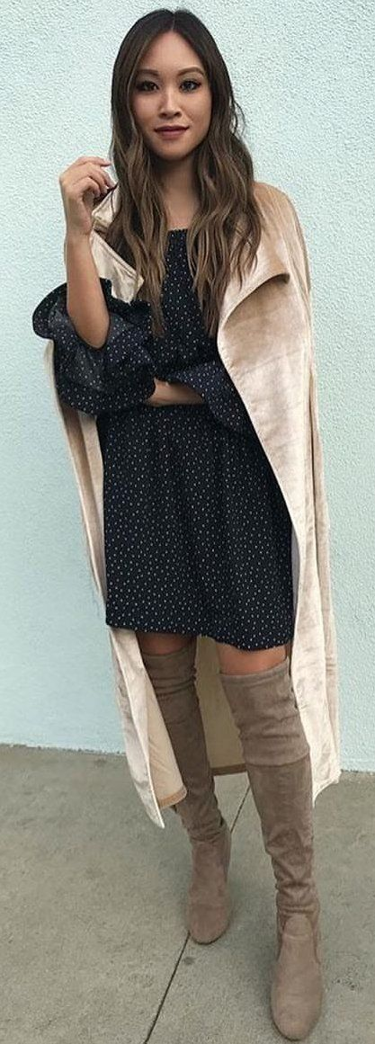 #winter #outfits  black and white polka-dot scoop-neck dress