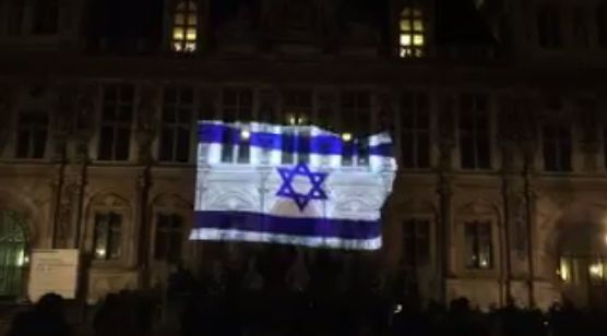 #Paris #city #hall bears #Israeli flag to honor victims of #Jerusalem #terror #attack http://www.i24news.tv/…/134807-170110-paris-city-hall-bears…