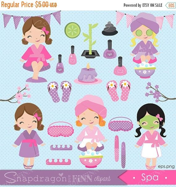 SALE Spa Party clipart Spa girls clipart by snapdragonandfinn