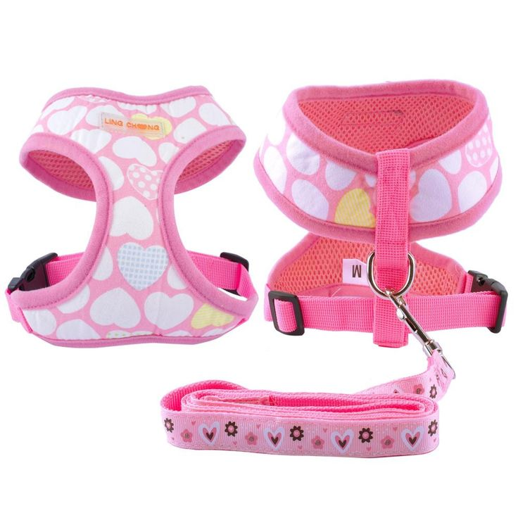 Cutest Pattern Puppy Harness & Leash Set For all Small Dogs; Males and Females S-XL