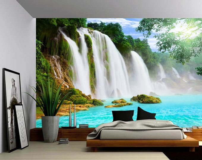 Canada Banff Rocky Mountain Lake Large Wall Mural Etsy Large Wall Murals Vinyl Wallpaper Fabric Wall Decals