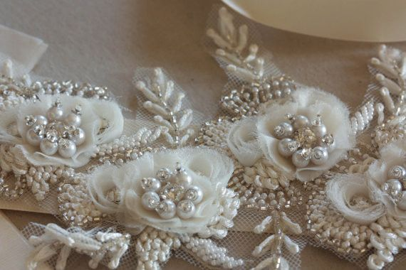 Bridal sashes and belts - Vintage flower ( 14 inches)