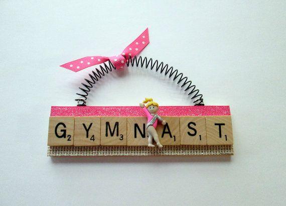 Gymnast Gymnastics Ornaments by ScrabbleTileOrnament on Etsy