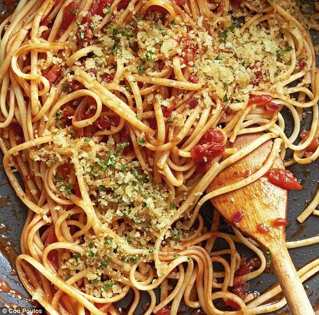 Pasta Bloody Mary linguine  SERVES 4 olive oil, for frying 1 red onion, peeled and finely diced 1 garlic clove, peeled and crushed 1–2 tbsp Worcestershire sauce 1 tsp Tabasco sauce 1⁄2 tsp celery salt 1 tsp caster sugar 1 x 400g tin best-quality chopped tomatoes 50ml (2fl oz) vodka 400g (14oz) dried linguine  FOR THE TOPPING olive oil, for frying large handful of white breadcrumbs 1 tbsp finely chopped parsley sea salt and freshly ground black pepper