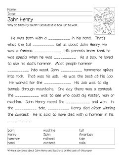tall tales worksheets