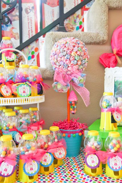 Candyland party display: Candy Display, Candyland Dessert, Birthday Party Craft, Candyland Birthday, Gumball Machine, Candy Land Birthday, Candyland Theme, Party Ideas, Birthday Ideas
