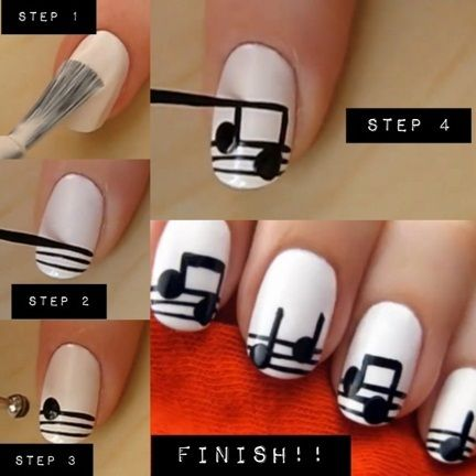 music notes nail art tuto