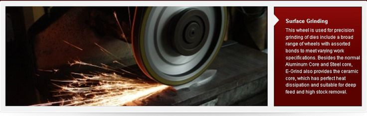 surface grinding  http://vitrifiedcbngrindingwheels.blogspot.com/   By plating with nickel by electroplating in the form of diamond or CBN abrasive grains is fixed to the substrate surface, usually plating method (E) are combined into the form of a metal binding agent.