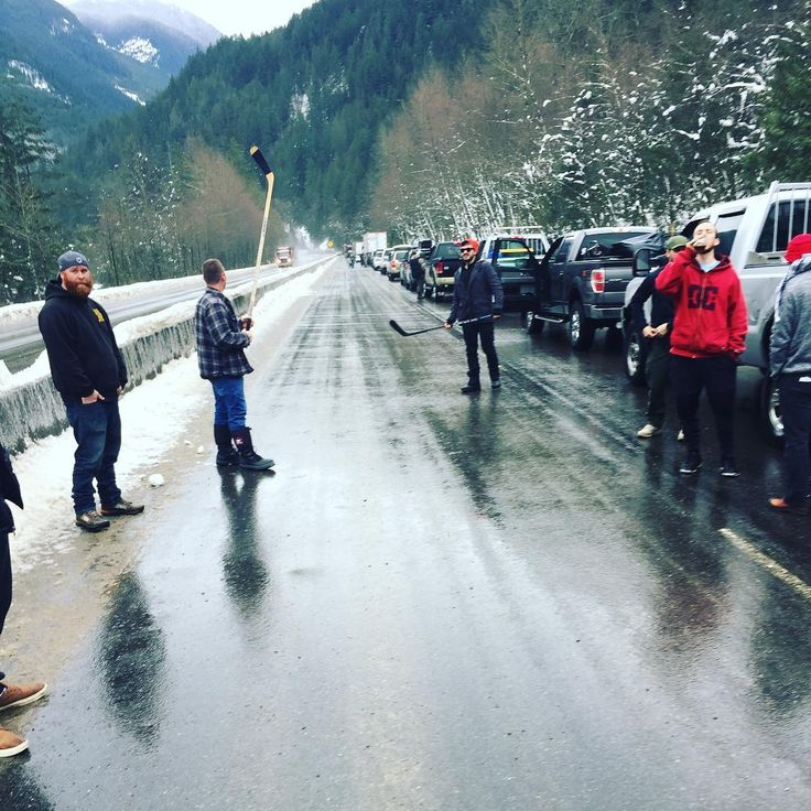 How Canadian is this? There was a road closure in BC, so they broke out in a game of hockey! See this Instagram photo by @toddgartland • 84 likes