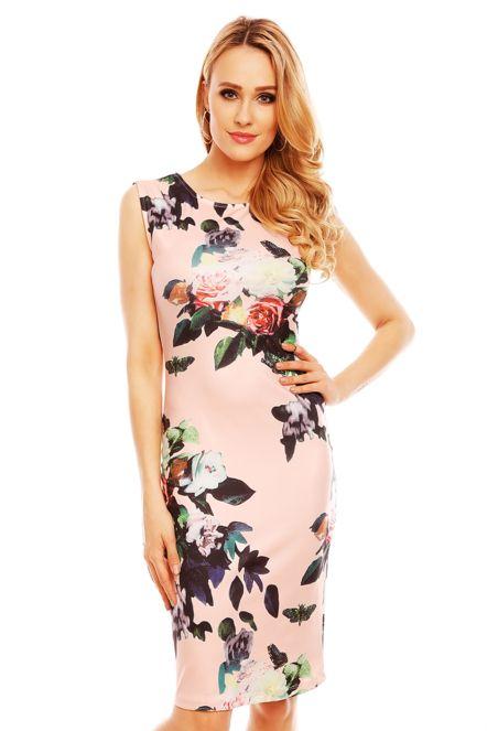 32f4a77722e Společenské a párty šaty vypasované bez rukávu květované světle růžové