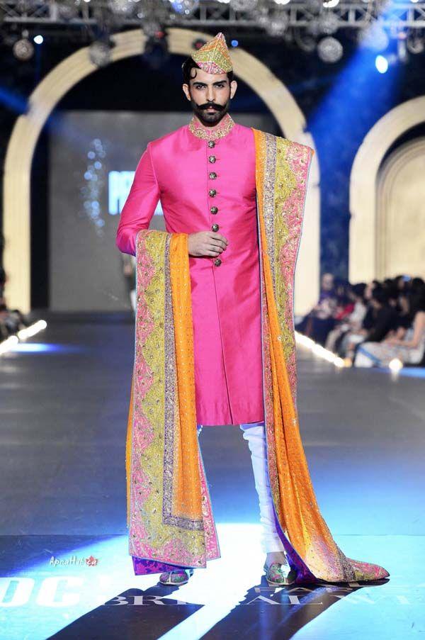 Pink sherwani by Nomi Ansari at PFDC Bridal Fashion Week 2013