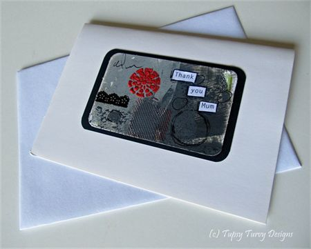 Grey and red mixed media unique blank greeting card - for mother
