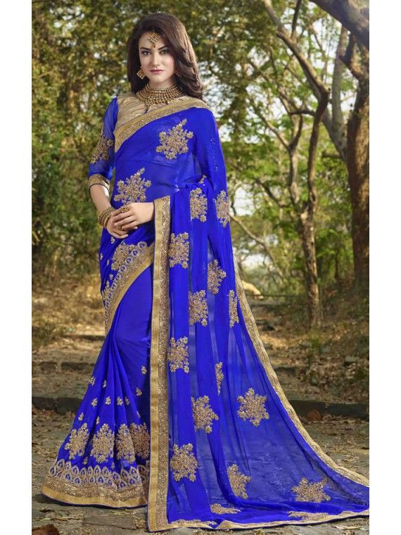 Dazzling Royal Blue and Golden Online saree