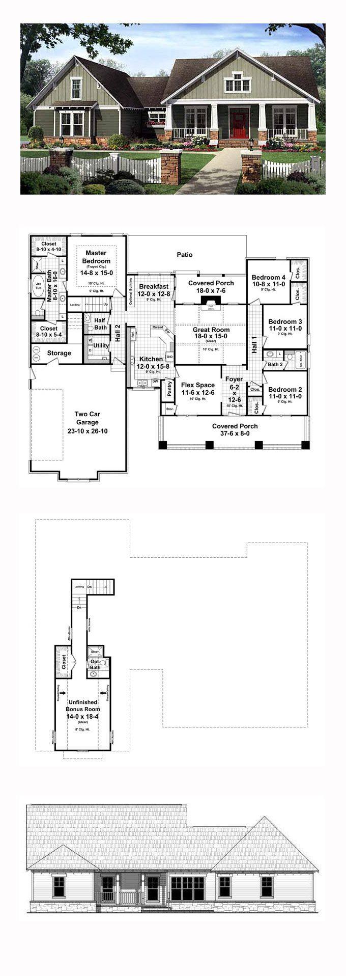 Craftsman House Plan 59207 | Total Living Area: 2199 sq. ft., 4 bedrooms and 2.5 bathrooms. The great room includes gas logs, a coffered ceiling, and beautiful views to the covered rear porch beyond. The master bedroom also features trayed ceilings and the master bathroom leaves nothing to be desired. #craftsmanhome