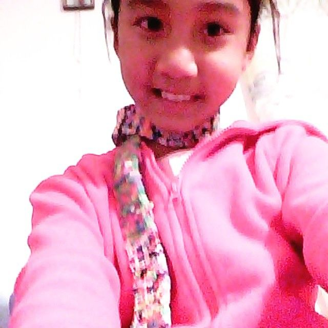 My rainbow loom scarf that I made:-) :-) :-) :-) luckily it's finish.:-) :-) :-) :-) :-) :-)