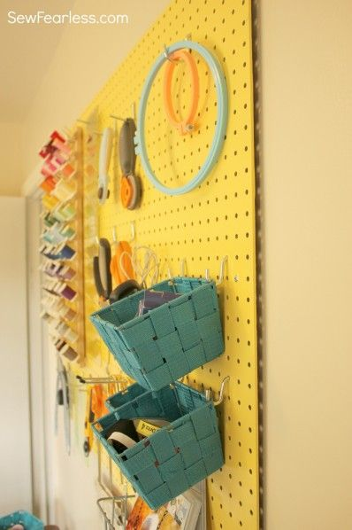 Pretty Painted Pegboard for Sewing Organization [How-To] - Sew Fearless