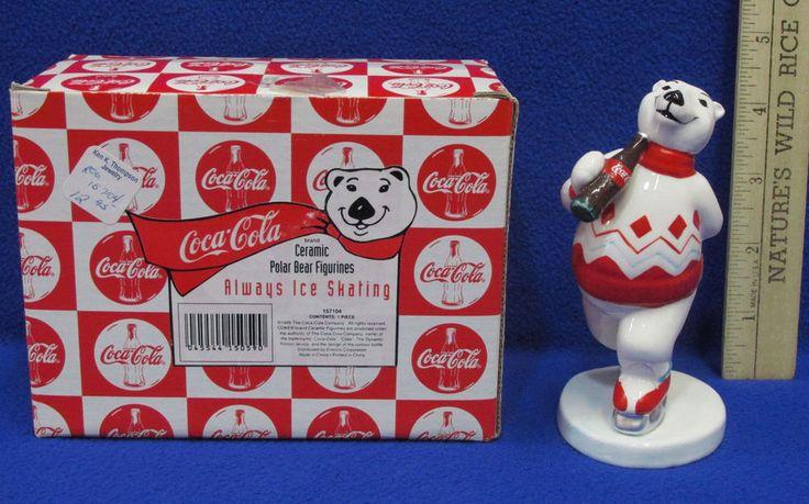 1995 Ceramic Coca Cola Coke Polar Bear Figurine Always Ice Skating Original Box #CocaCola