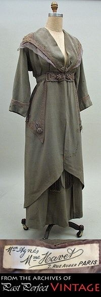 1912 Agnes/Mme Havet Couture Suit in greige silk faille