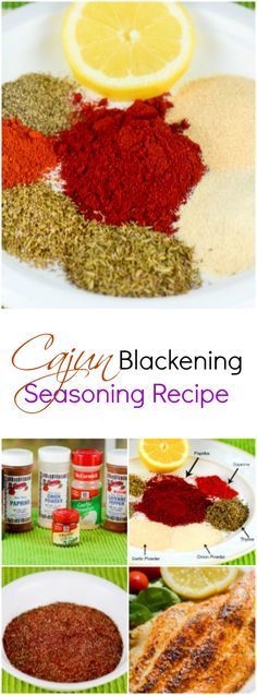 This yummy, spicy Cajun Blackening Seasoning Recipe is a healthy, no (or low) sodium, spice blend mix that will save you money over prepackaged store-bought seasoning mix blends. ~ FlavorMosaic.com