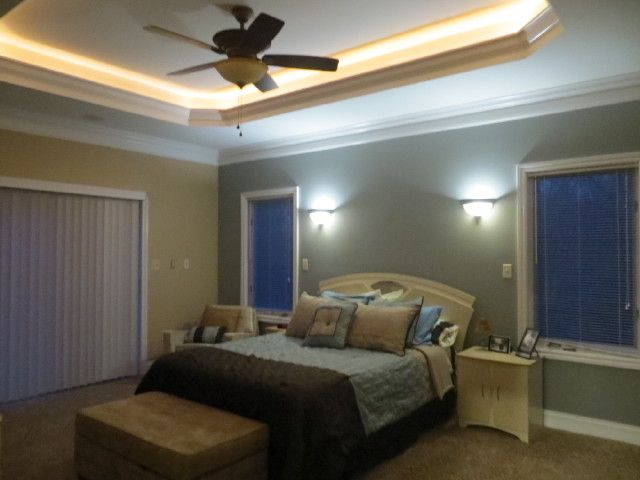 Master Bedroom Tray Ceiling master bedroom, lighted tray ceiling, his and her wall sconces on