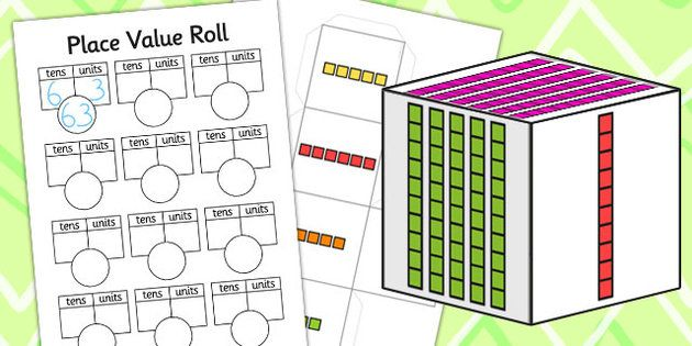 Place Value Roll Activity Dice Net And Worksheet