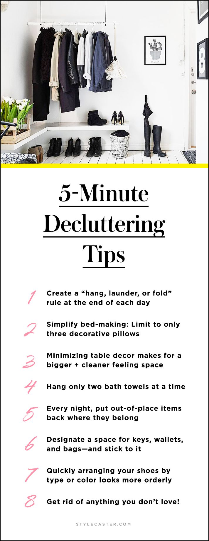 Cheat Sheet: 5-Minute Decluttering Tips for a Clutter-Free Home | How to quickly clean + simplify your space—save this handy list as a reminder | @stylecaster