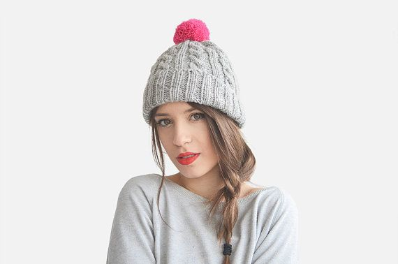 Hand Knit Beanie Hat in Gray and Pink, Womens Chunky Hat, Mens Ski Hat, Cable Knit Beanie with Pom Pom, Custom colors / Hand Knitted