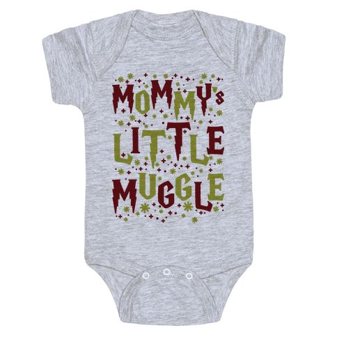 """Mommy's Little Muggle - This Harry Potter themed baby one piece is perfect for nerd parents about to bring another muggle into the world. This baby design features illustrations of stars and sparkles and the phrase """"Daddy's Little Muggle."""" This one piece is a perfect baby shower gift for a nerdy mother to be."""