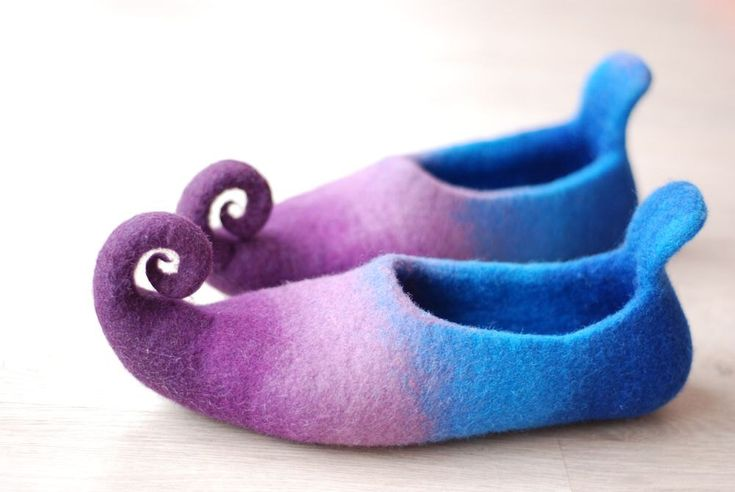 CUSTOM MADE Fairy shoes/ felted home slippers felted from wool in purple and blue or any other color by zavesfelt on Etsy https://www.etsy.com/listing/159448777/custom-made-fairy-shoes-felted-home