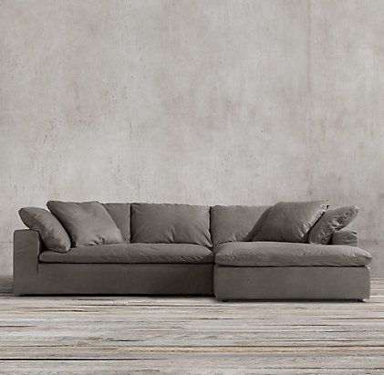 Preconfigured Cloud Track Arm Leather Right-Arm Sofa Chaise Sectional