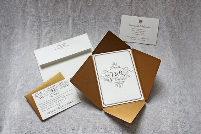 Letterpress, initials, metallic envelopes: elegant wedding invitations