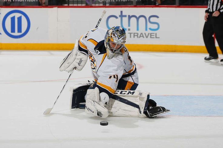 BROOKLYN, NY - MARCH 27: Juuse Saros #74 of the Nashville Predators makes a save during the game against the New York Islanders at Barclays Center on March 27, 2017 in the Brooklyn borough of New York, New York. (Photo by Paul Bereswill/NHLI via Getty Images)