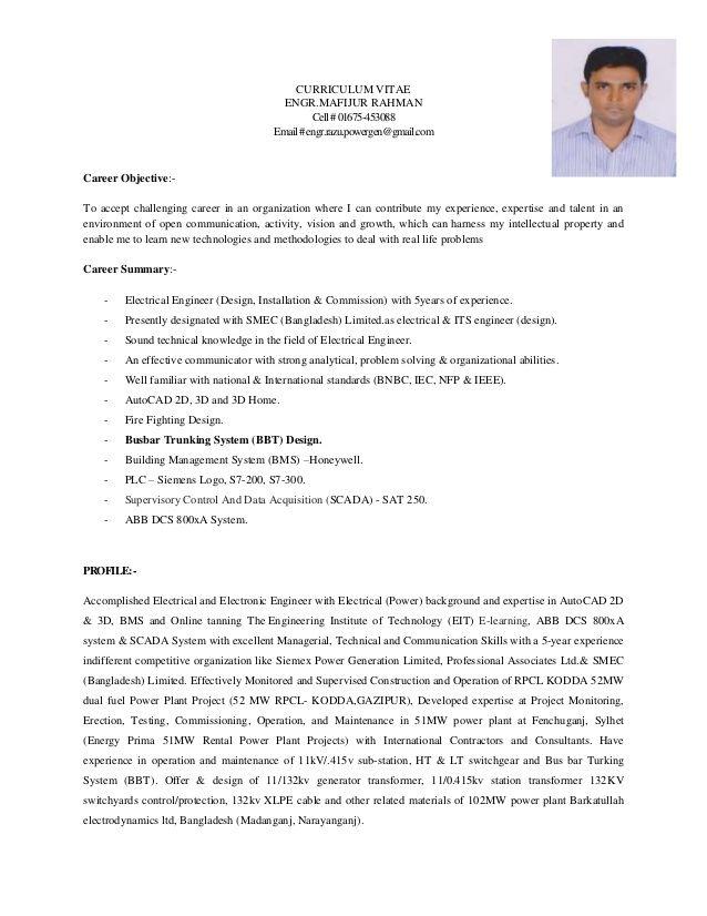 Electrical Engineer Mafijur Rahman Awesome Electrical Engineer Mafijur Rahman Career Objective For Ele Resume Objective Statement Engineering Resume Resume