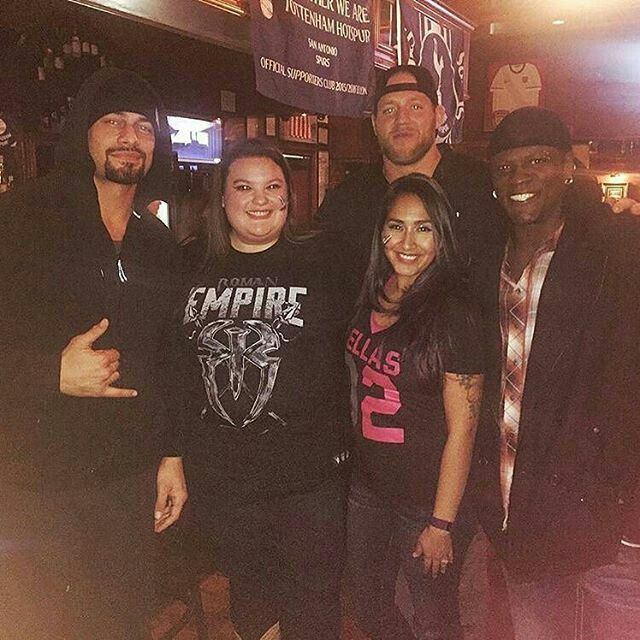Roman Reigns, Jack Swagger and R Truth with fans