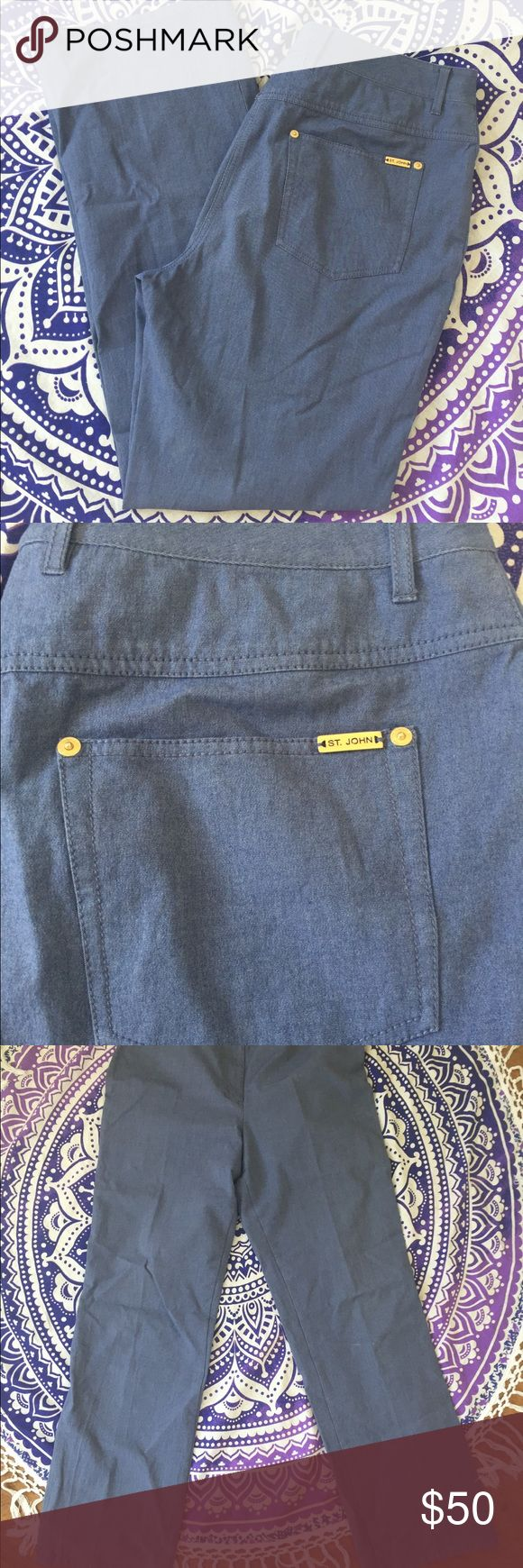 St. John Sport Slacks Denim Cotton 14 Excellent condition with no defects or signs of wear! Women's size 14. Please note photos for inseam. These are a denim blue color but not true jeans. They are lightweight slacks. Great cruise / resort wear. Gold tone hardware. St. John Sport by Marie Gray Pants Trousers