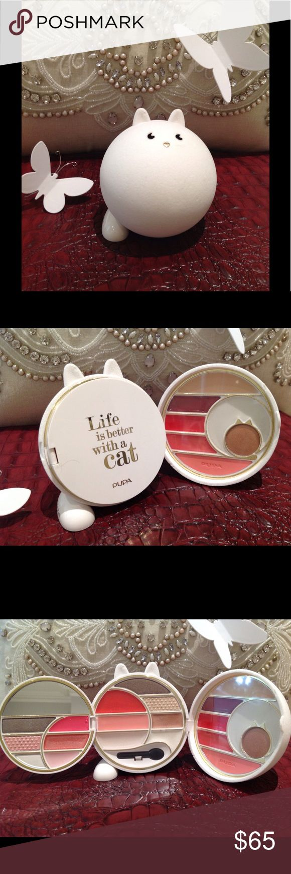 """✨Pupa White """"Life is Better With a Cat"""" MakeUp Kit ✨NIB Cat Lover Pupa White Velvet """"Life is Better With a Cat"""" Make Up Kit. I want one in every color! This is an Italian make up brand, from the 2016 collection. Velvet outer shell covering, opens up to three sections of assorted colors for lip, cheek, eyes, and one block of concealer. Half moon mirror and one eyeshadow applicator. Must have for any make up lover/collectors. All plastic protective cover still in place. About 3.5"""" tall and 3""""…"""