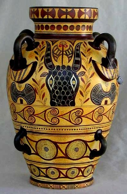Minoan Art Pottery | Minoan eight handled amphora