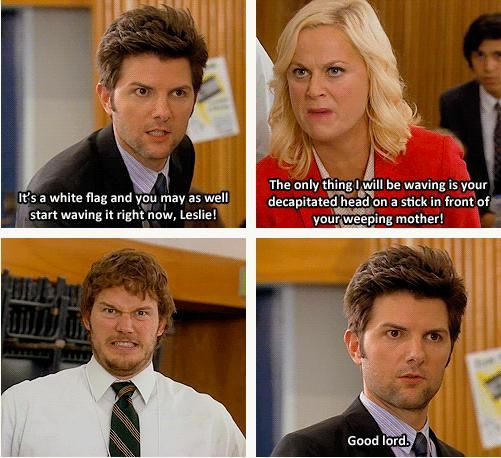 parks and rec.. always taking it too far. except now they're married, so can I just be Leslie?